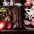 Christmas card with box of toys — Stock Photo #34059271