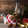 Christmas decoration with teddy bear — Foto Stock