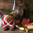Christmas decoration with teddy bear — Zdjęcie stockowe #34064427