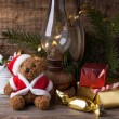 Christmas decoration with teddy bear — Foto de Stock   #34064427