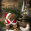 Christmas decoration with teddy bear with cookies — Stok fotoğraf
