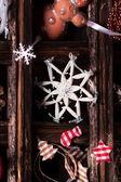 рождественская открытка с коробки игрушки — Стоковое фото