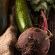 Beetroot and zucchini on sackcloth — Stock Photo