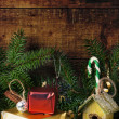 Christmas card with nesting box — Stock Photo