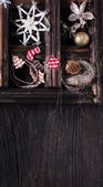 Christmas wooden background with box of toys — Foto Stock