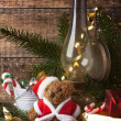 Christmas decoration with teddy bear — Stock fotografie