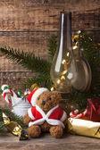 Christmas decoration with teddy bear — Zdjęcie stockowe