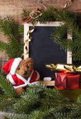 Christmas decoration with teddy bear — Stock Photo