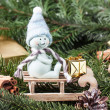 Christmas card with snowman on sled — Stock Photo #34761583