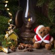 Christmas decoration with teddy bear — 图库照片