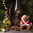 Christmas decoration with teddy bear — Stockfoto