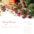 Christmas card with sled and cinnamon — Stock Photo