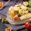Dry pasta as hearts — Stockfoto