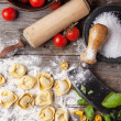 Pasta ravioli on flour — Stock Photo #35243661