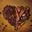 Coffee beans and spices — Stock Photo
