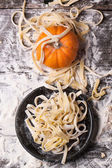 Raw homemade pasta with pumpkin — Stock Photo