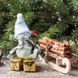 Christmas card with snowman and gifts — Stockfoto