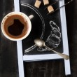 Chalkboard with coffee and sugar — Zdjęcie stockowe