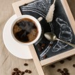 Chalkboard with coffee and sugar — Stock Photo #35415997