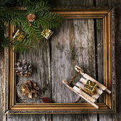 Christmas card with vintage frame — Stock Photo