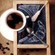 Chalkboard with coffee and sugar — Stock Photo