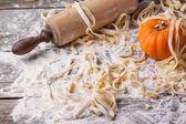 Raw homemade pasta with pumpkin — Stock Photo