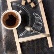 Chalkboard with coffee and sugar — Stockfoto
