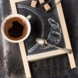 Chalkboard with coffee and sugar — Zdjęcie stockowe #35860507