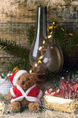 Christmas decoration with teddy bear — Stock Photo