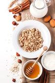Muesli with milk and honey — Stock Photo