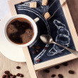 Chalkboard with coffee and sugar — Stock Photo #36170047