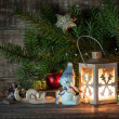 Christmas lantern with christmas tree — Stok fotoğraf