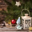 Christmas lantern with christmas tree — Stock Photo