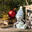 Christmas lantern with christmas tree and snowman — Stock fotografie