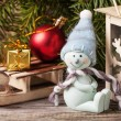 Christmas lantern with christmas tree and snowman — Stock Photo #36653881