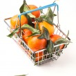 Food basket of tangerines — Stock Photo