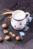 Milk and walnuts — Stock Photo