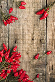 Wooden background with red hot chili peppers — Stock Photo