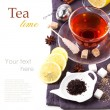 Cup of tea with lemon over white — Stock Photo