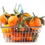 Food basket of tangerines — Stock Photo