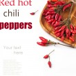 Red hot chili peppers over white — Stock Photo #37443907