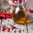 Stock Photo: Olive oil with chili peppers