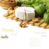 Cheese and walnuts with basil — Stock Photo