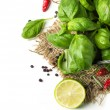 Stock Photo: Basil and lime over white