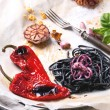 Black spaghetti with grilled vegetables — Stock Photo #41259883