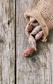 Sausages in a sack — Stock Photo