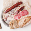 Stock Photo: Sausage and bread