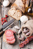 Sausage and bread — Stock Photo