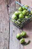 Food basket of brussels sprouts — Stock Photo