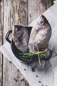 Tow raw fish with rosemary — Stock Photo